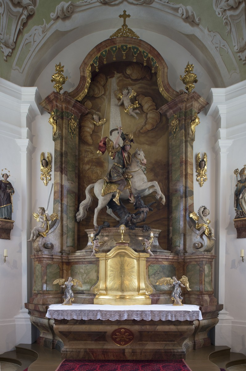 1.	High altar of St George in the Branch Church of St George, Bichl (Bavarian State Department of Monuments and Sites, photo by Michael Forstner, May 2017)