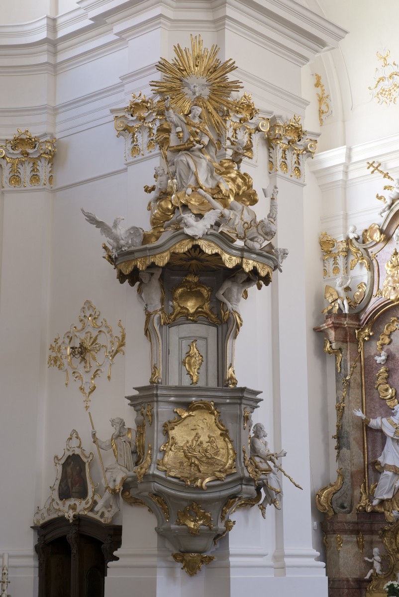 The pulpit in the monastery church St Dionys and St Juliana, Schäftlarn photo Bavarian State Department of Monuments and Sites photo Michel Forstner 07.2017
