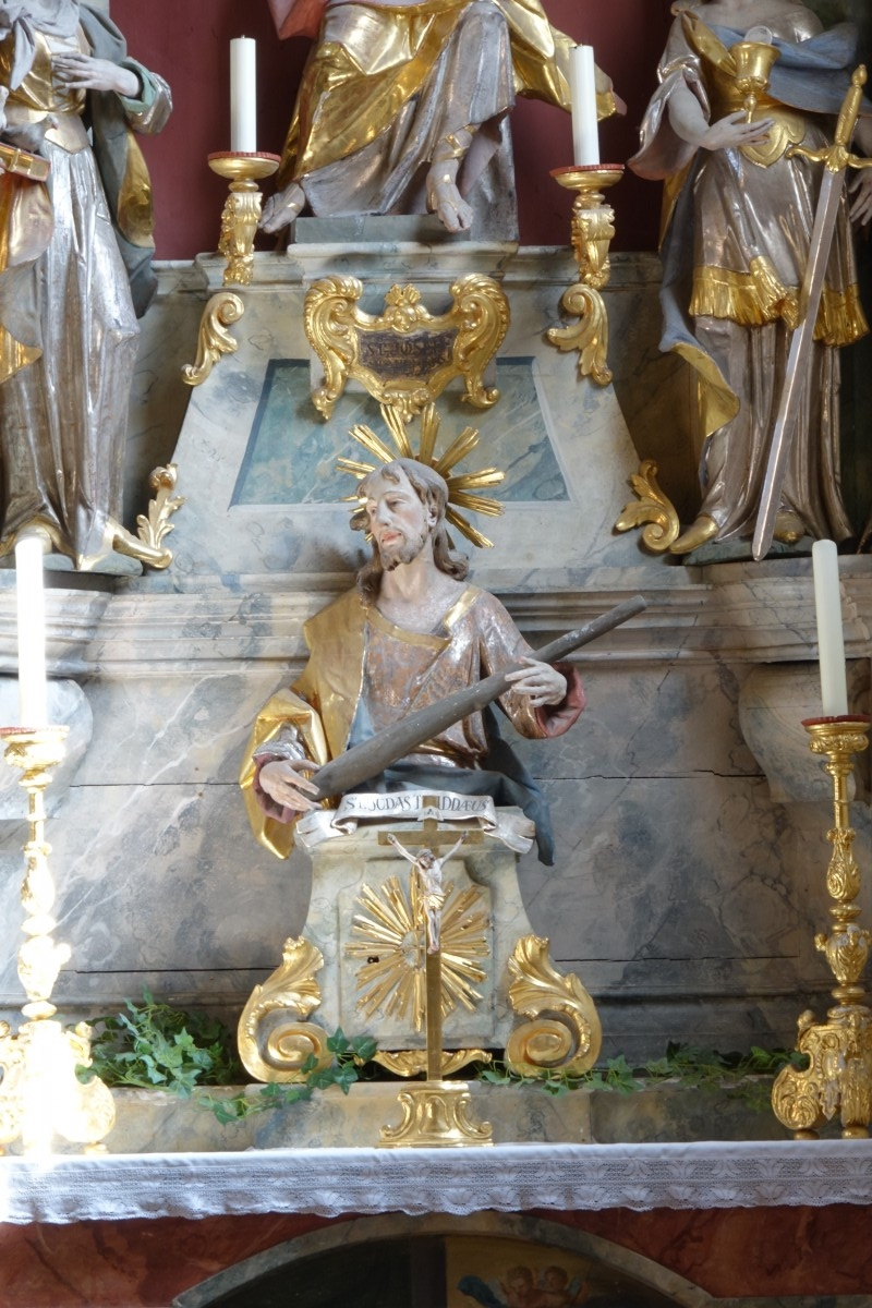 The sculpture St Judas Thaddaeus (Bavarian State Department of Monuments and Sites, photo by Rupert Karbacher, 2017)