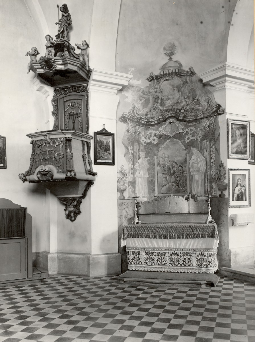 Brezovica, Parish church of the Assumption of Mary, pulpit (Photo by Schneider's Photo Archive, Croatian Academy of Sciences and Arts, 1930s, SFA-1228)
