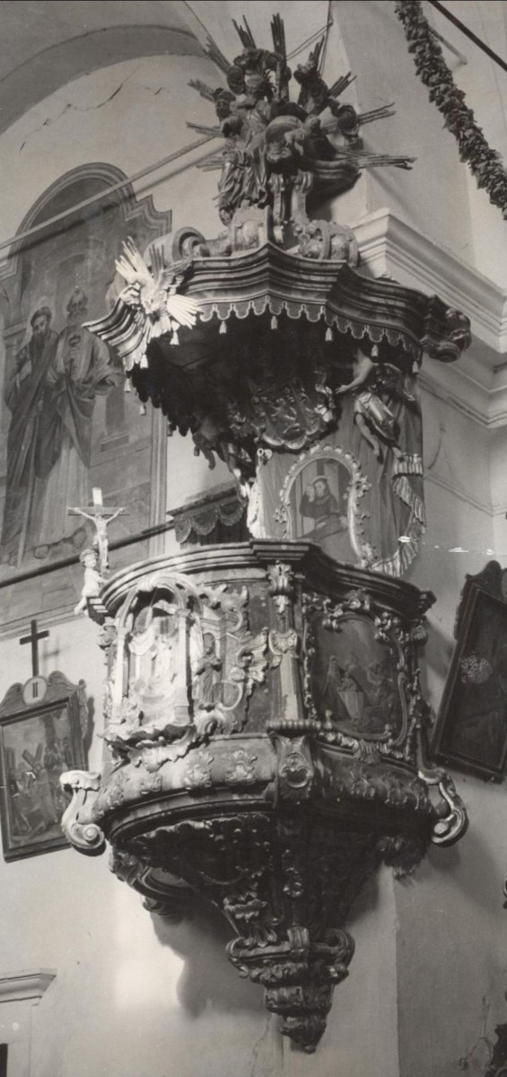 Marija Gorica, Parish Church of the Visitation of Mary, pulpit (Photo by Ljerka Krtelj, Conservation department in Zagreb, 1967)