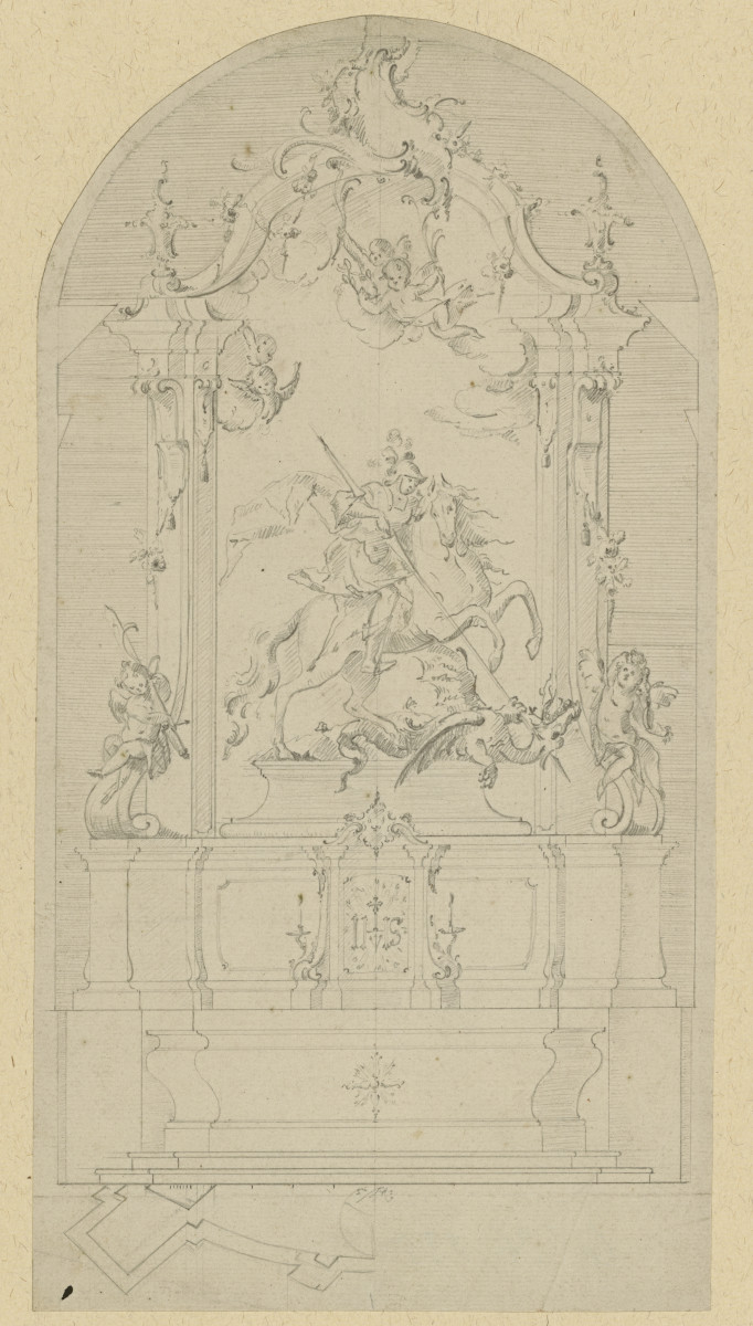 The drawing of the high altar by J. B. Straub (Kunstbibliothek, Staatliche Museen zu Berlin, CC BY-NC-SA 3.0 DE)